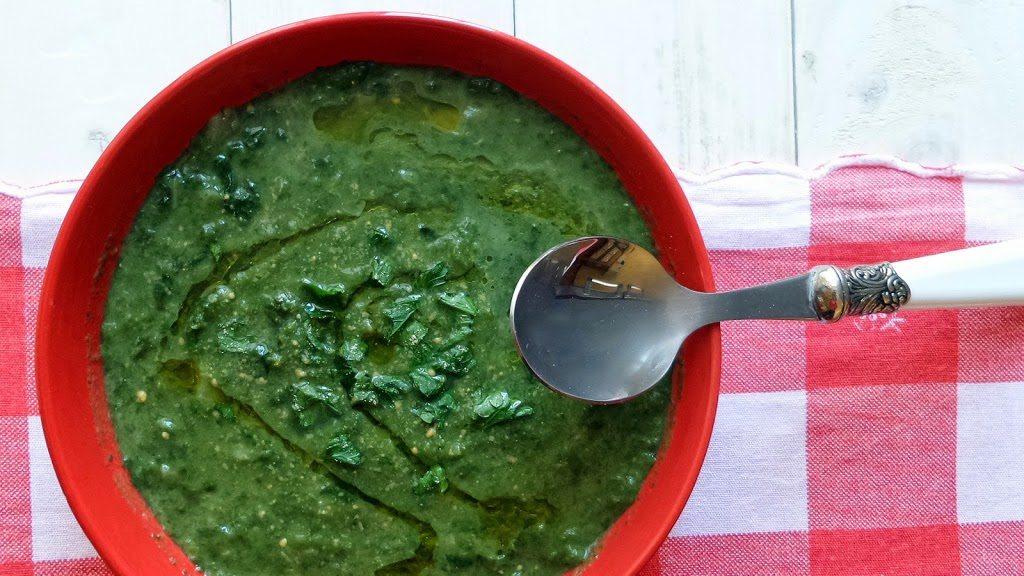 Minestra di verdura porri e spinaci